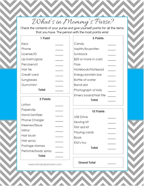 Whatu0027s in Mommyu0027s Purse Baby Shower Game Oh My Baby Shower - free printable baby shower guest list