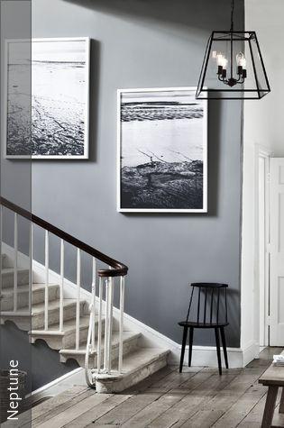 Treppenaufgang in Grau Wandfarbe, Flure und Treppenhaus - wandfarbe grau