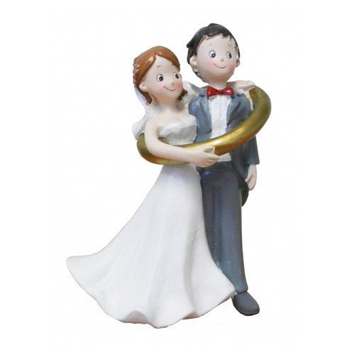 Tortenfigur Hochzeit 14 Cm Brautpaar Im Ehering Hochzeitspaar Lustig