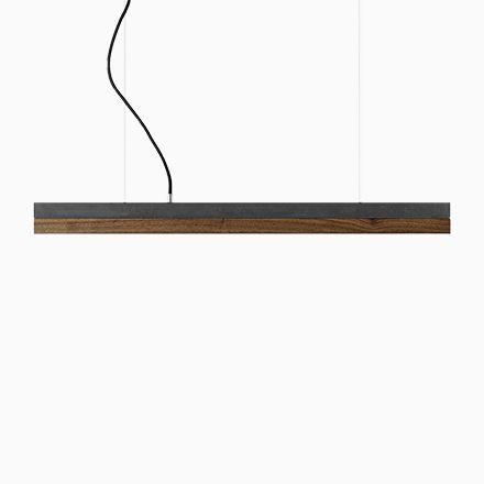 C2 Hängelampe aus dunklem Beton  Nussholz von Stefan Gant für - deckenleuchten für badezimmer