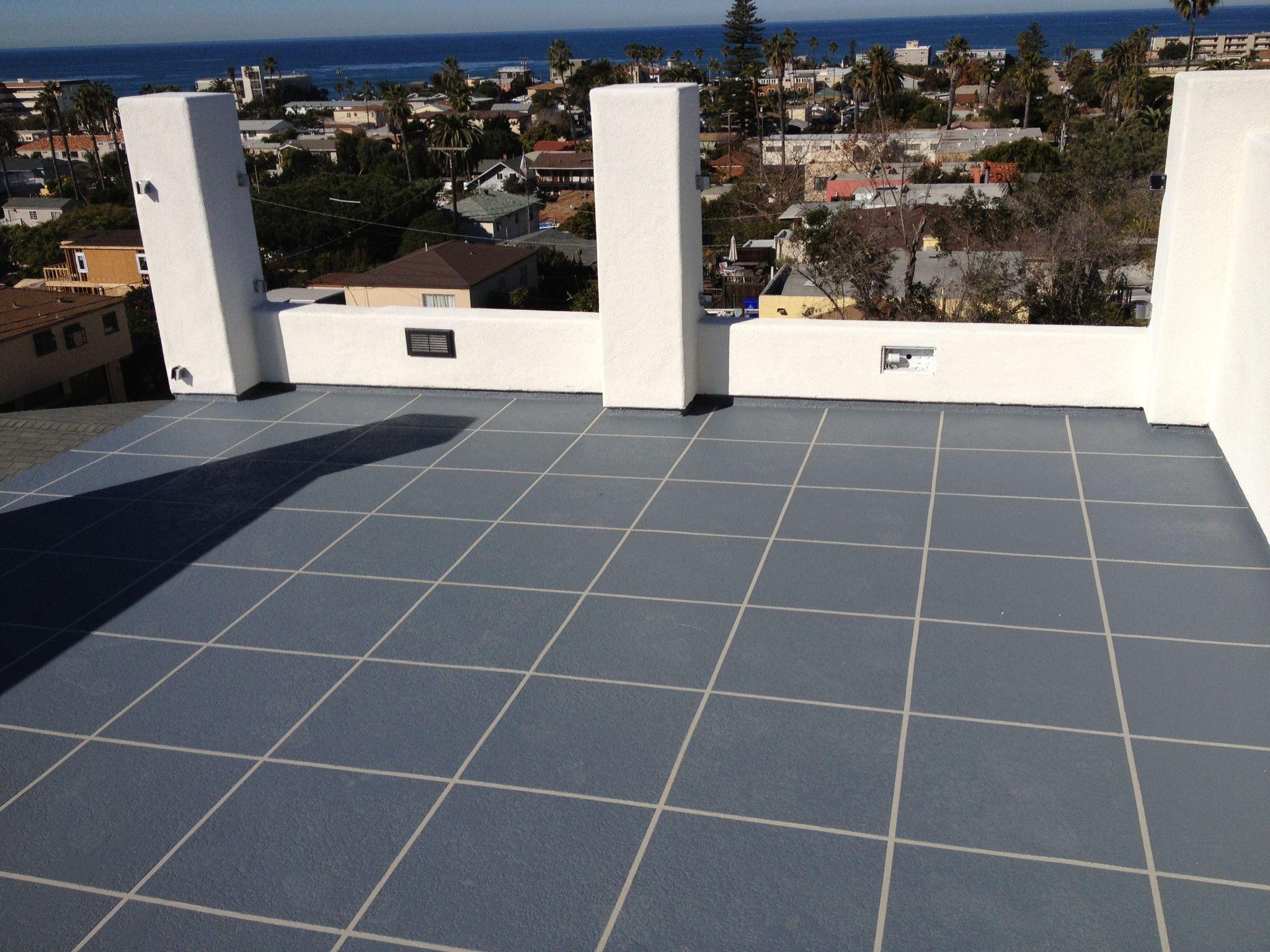 Condominium Roof Deck In San Diego Ca 92107 Simulated Tile Pattern Roof Deck Waterproofing Deckcoating Wicr Roofdec Roof Deck Condominium Tile Patterns