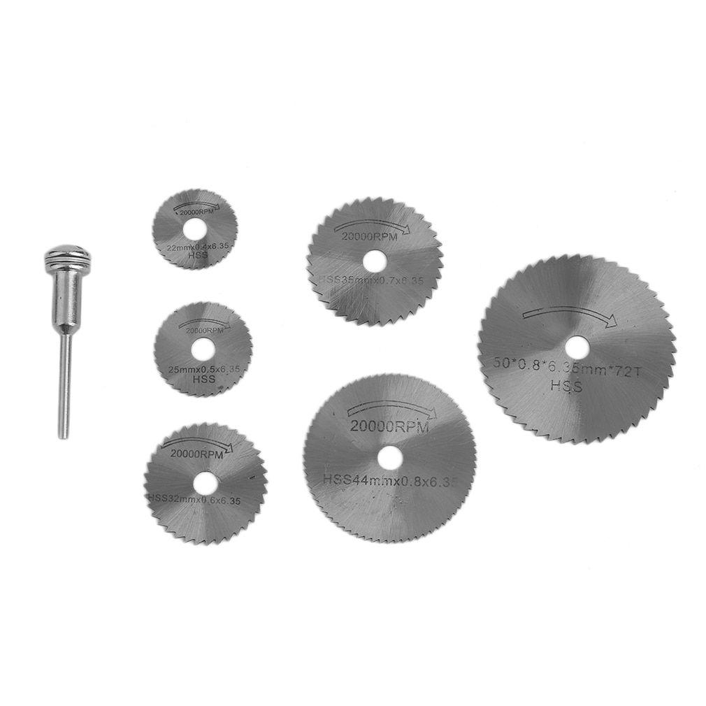 7PCS Cutting Wheel Discs Mandrel HSS Rotary Circular Saw Blades Tool Cutoff Wood