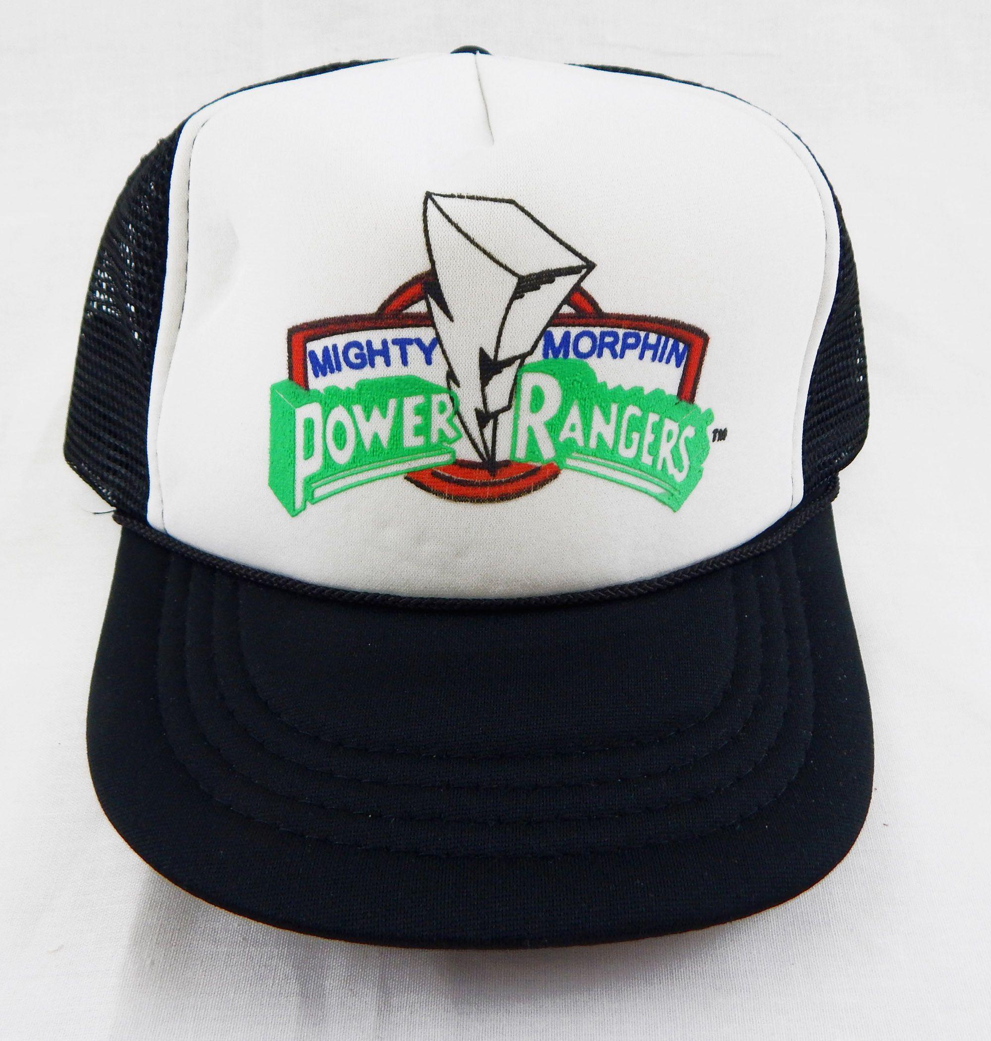 8b4a9eb67e4 Vintage 1990 s Mighty Morphin Power Rangers Black Mesh Youth Trucker Hat