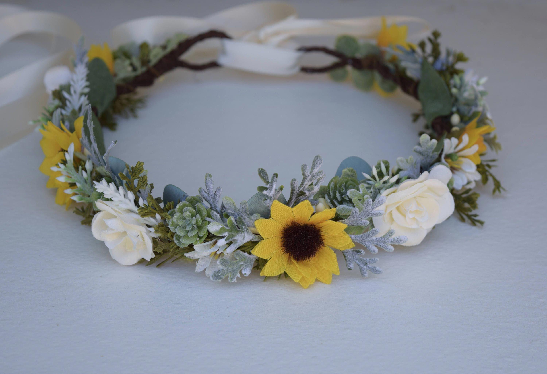 Sunflower & Succulent Flower Crown  Rose Flower Crown  | Etsy