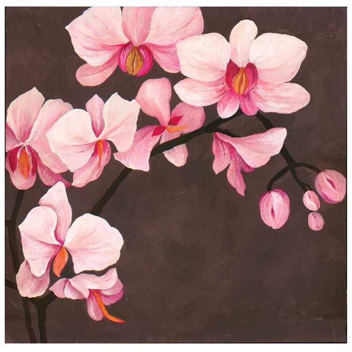Hand Painted Orchid Canvas With Images Orchids Painting