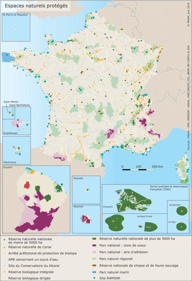 Carte des espaces naturels protégés en France ©MNHN, juin 2010