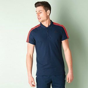 Mens adidas Mens Sport Essentials 3S Polo Shirt in Navy Red - XS ...