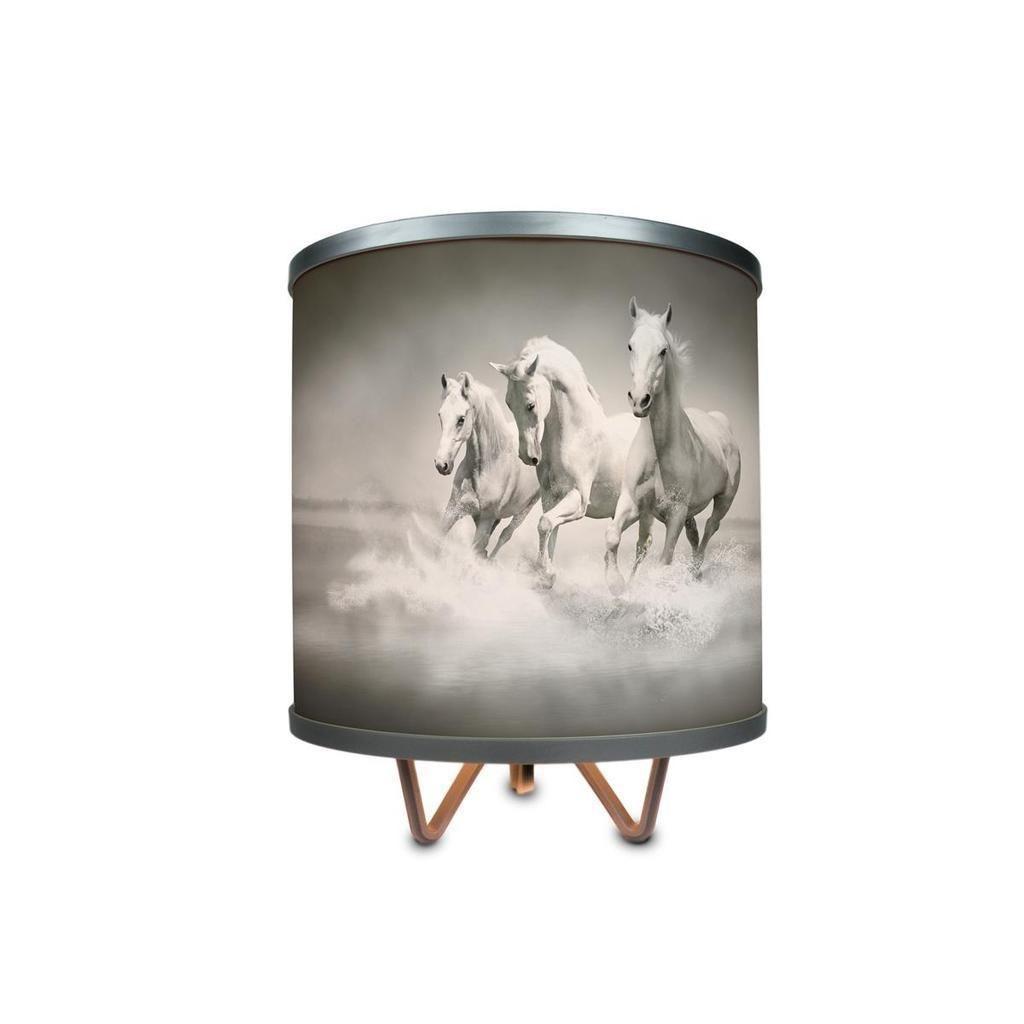 ArtLite Art Light White Horses 1-light Silver Table Lamp