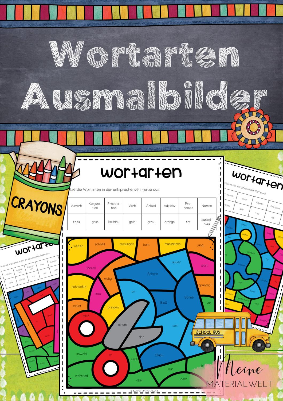 Ausmalbilder Zu Den Wortarten Schulmotive Unterrichtsmaterial Im Fach Kunst Ausmalen Wortbilder Wortarten