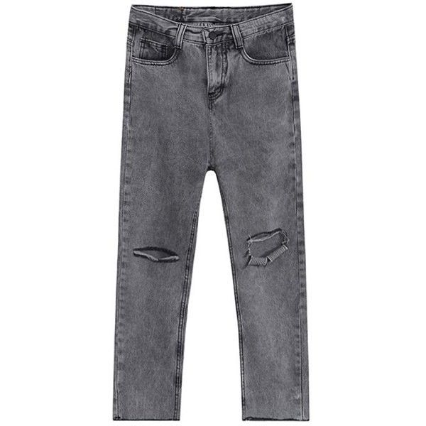 Broken Hole Jogger Jeans (3,485 THB) ❤ liked on Polyvore featuring jeans and jogger jeans