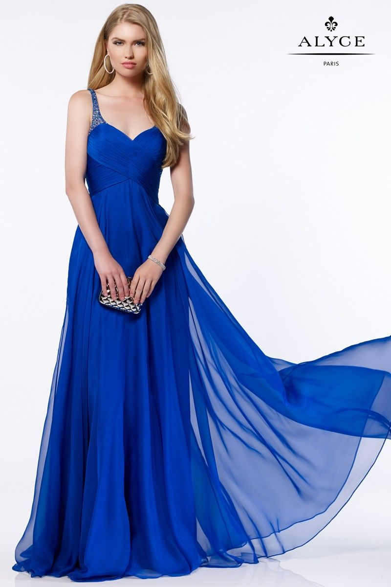 Silky chiffon gown with a ruched bodice sweetheart neckline