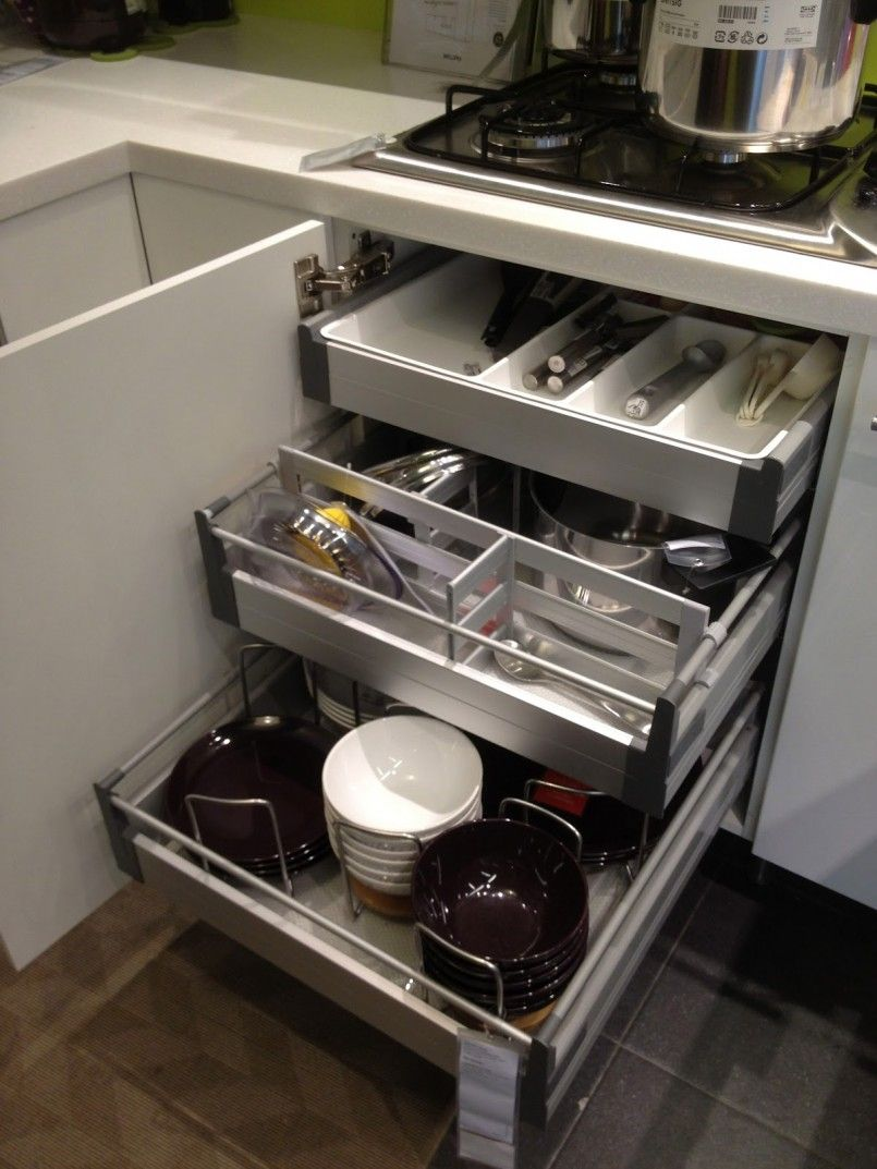 Kitchen Smart Kitchen Storage Ideas With Stainless Steel Pull Out ...
