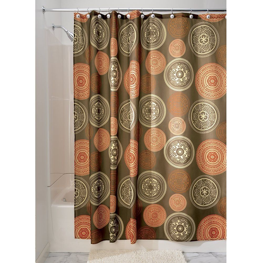 Interdesign 42520 Shower Curtain Bazaar Spice Polyester Material Fabric Shower Curtains Orange Shower Curtain Shower Curtain