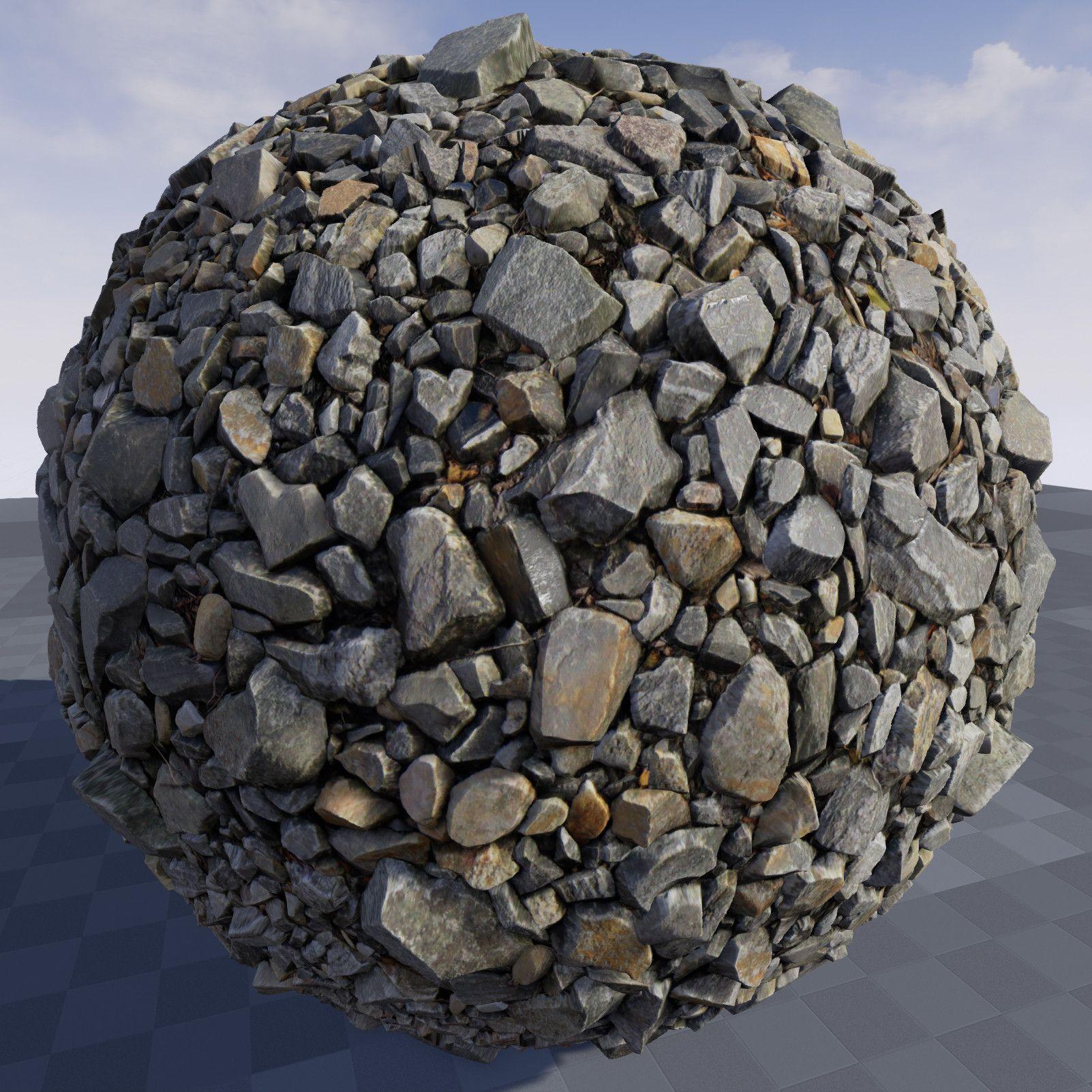 ArtStation - Texture of stone debris in Unreal Engine 4 9, Crazy