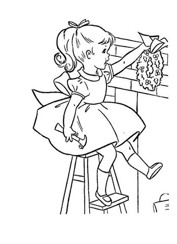 Getting Ready For Christmas Coloring page | invierno, navidad ...