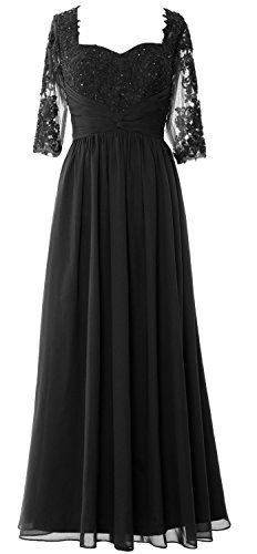 MACloth Women Half Sleeve Mother of Bride Dress Lace Chiffon Formal Evening  Gown Black)