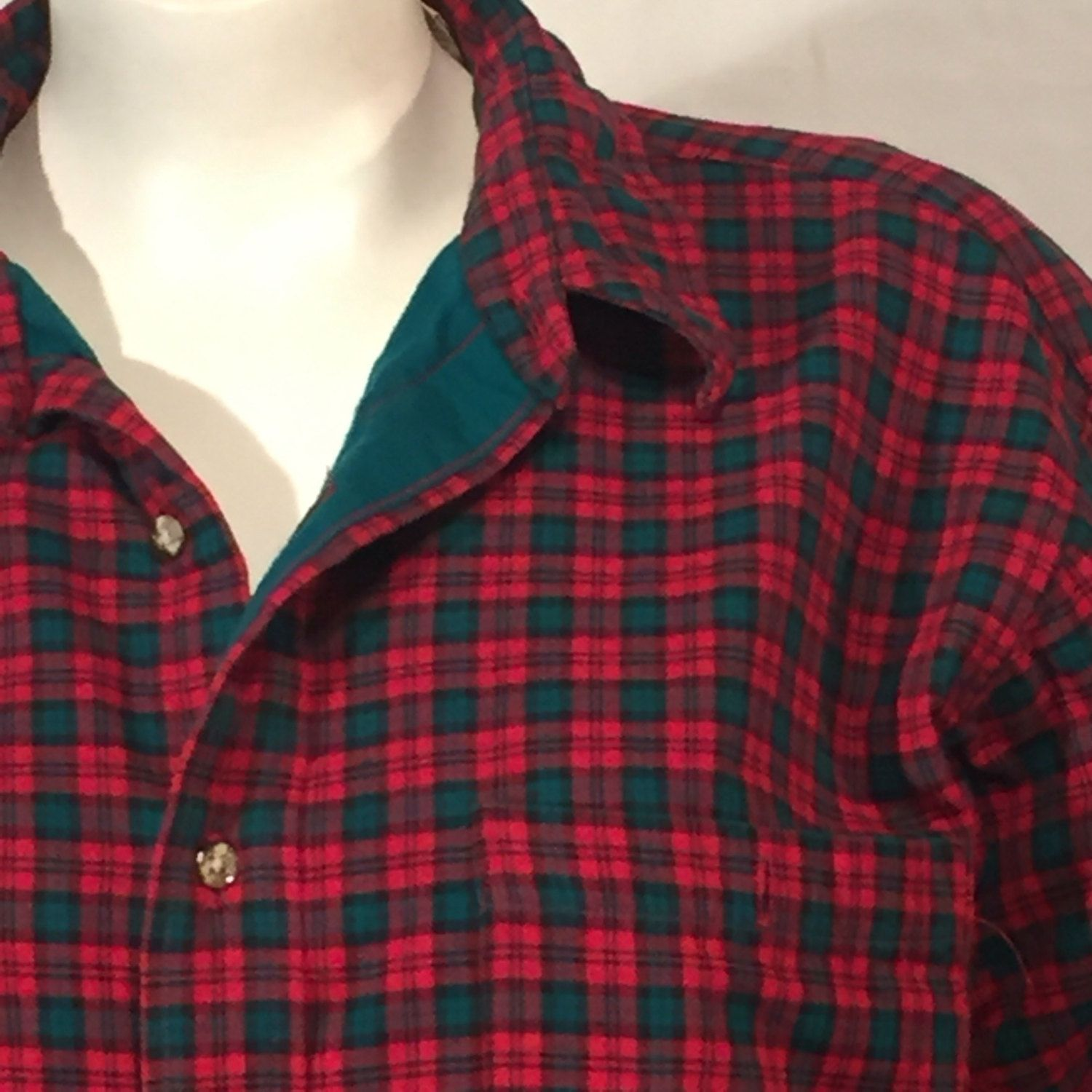 L L Bean Red Green Plaid Flannel Lined Shirt Large