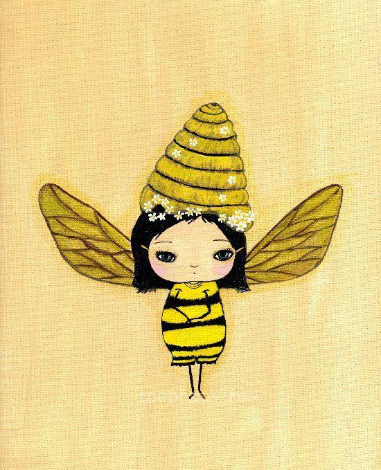 Bee Print Yellow Bumble Bee Girl Wall ArtBumblina by thepoppytree ...