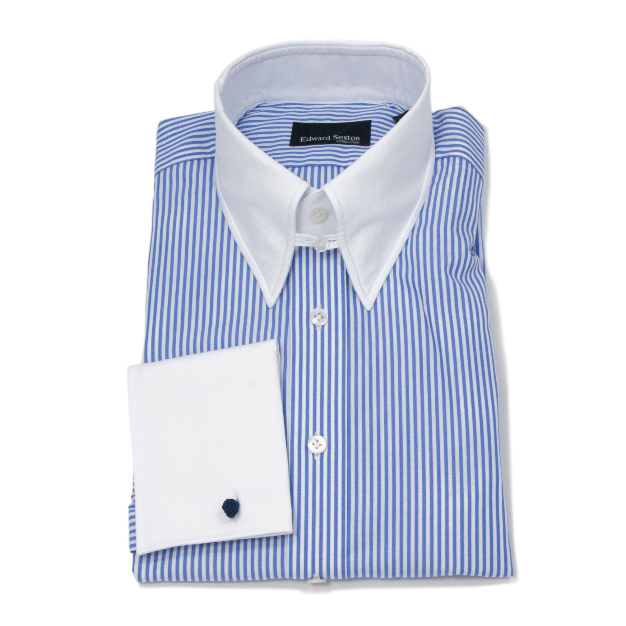 Edward Sexton Luxury Blue Bengal Stripe Slim Fit Tab Collar Shirt