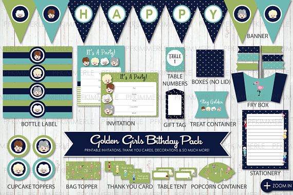 Golden Girls Party Birthday Cupcake Toppers Invitation