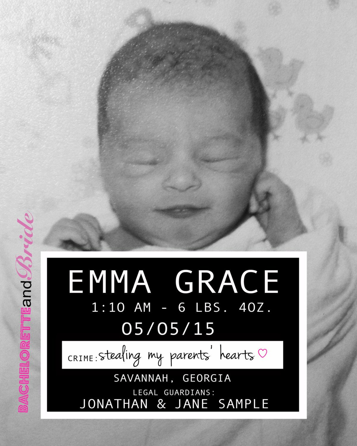 Baby Mugshot Birth Announcement Sign by