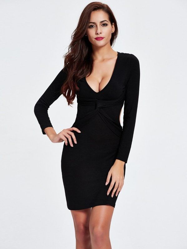 Twist Backless Long Sleeve Plunge Club Skinny Dress BLACK