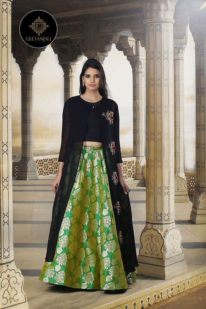 27f82ec4ab An impeccable blend of sophistication, style, comfort and tradition- Rich  and exquisite Banarasi skirt teamed with a crop top and an elegantly  designed cape ...