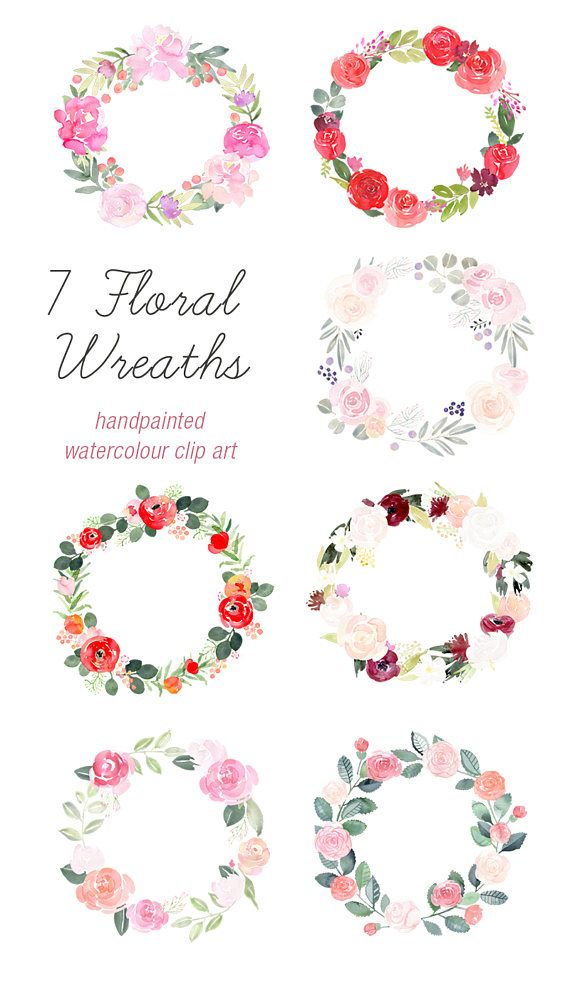 Hand Painted Floral Wreath Clipart, 7 floral wreaths, invitation ...