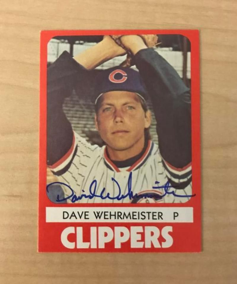 DAVE WEHRMEISTER COLUMBUS CLIPPERS SIGNED AUTOGRAPHED 1980