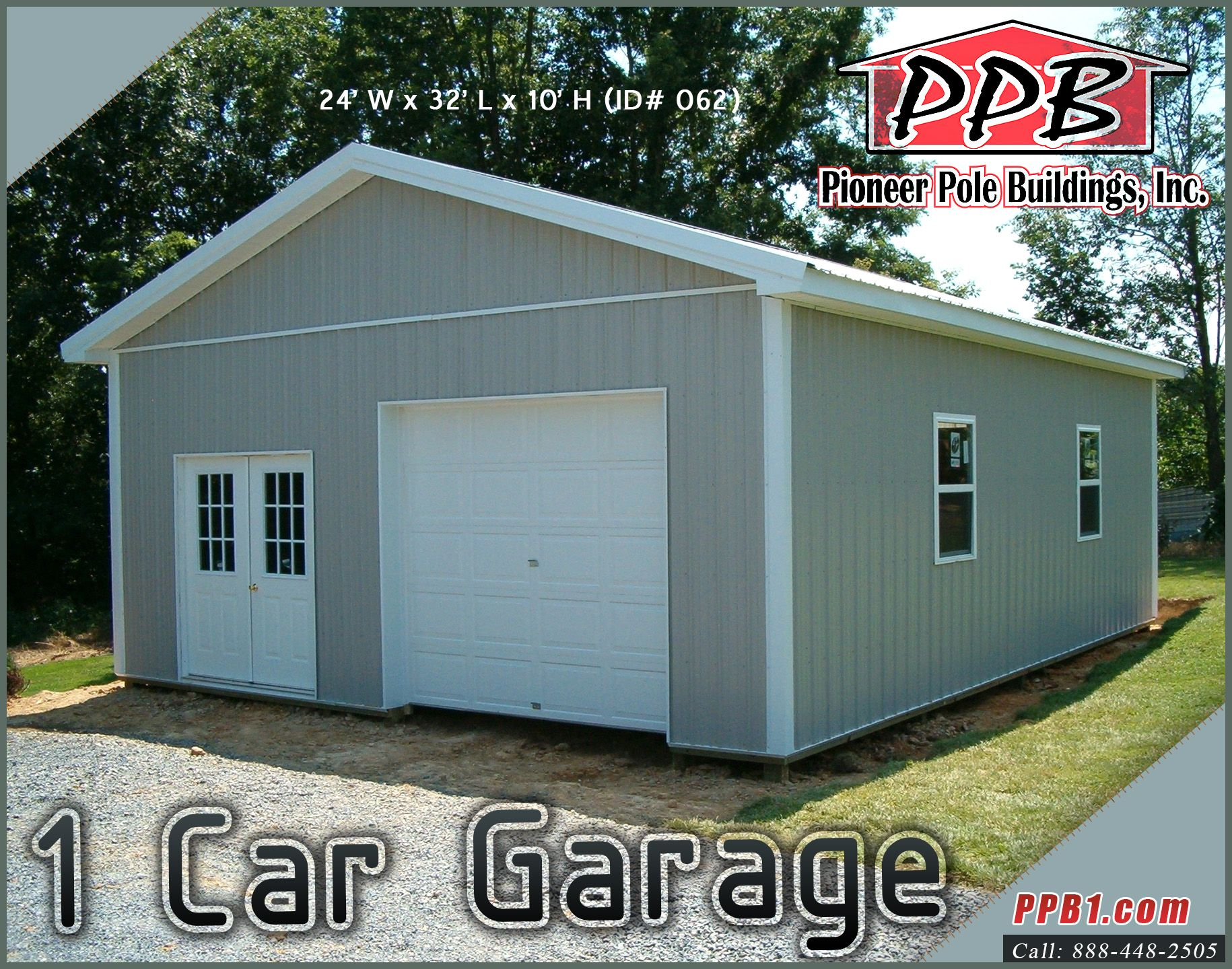 1 Car Garage Dimensions 24 W X 32 L X 10 H Id 062 24 Standard Trusses 4 On Center 4 12 Pitch Residential Garage Doors Garage Dimensions Garage Plans