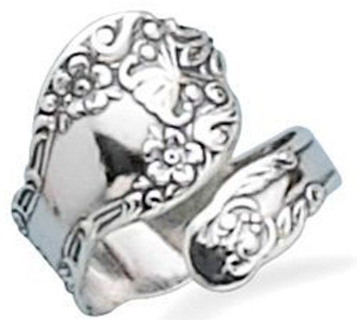 Sterling Silver, Floral Spoon Ring Oxidized- Adjustable Size $34.95 (save $35.00)