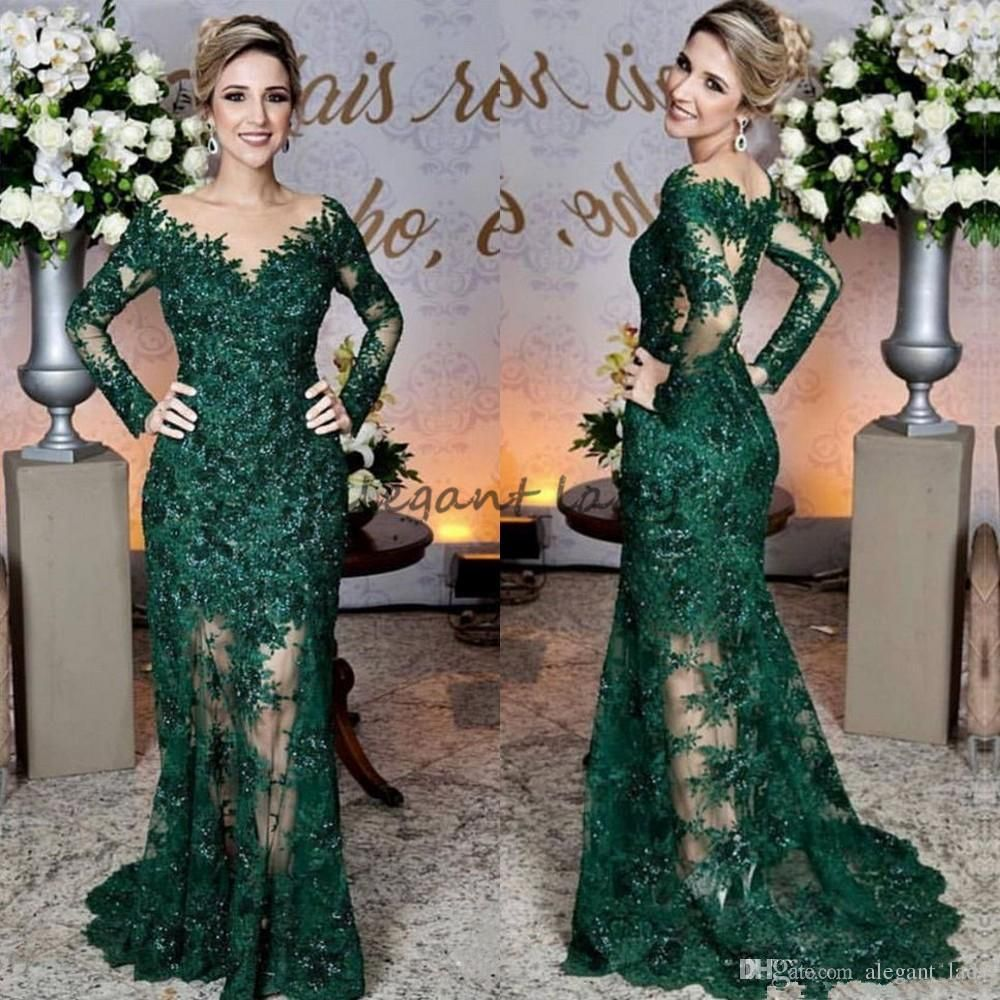 Glamorous emerald green evening dresses fashion lace applique long