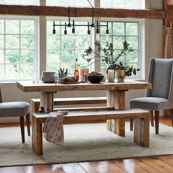 Made From Unfinished Reclaimed Pine Certified By The Forest Stewardship Council Fsc Emmerson Dining Table Shows Knots And Natural Imperfections