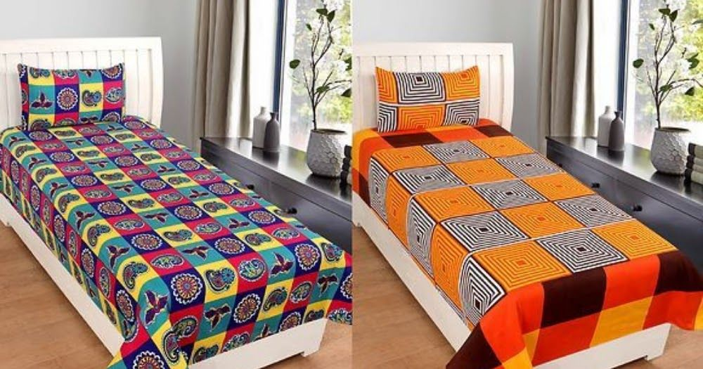Code 00388 Combo Of 2 Single Bedsheet Color Multicoloured Fabric
