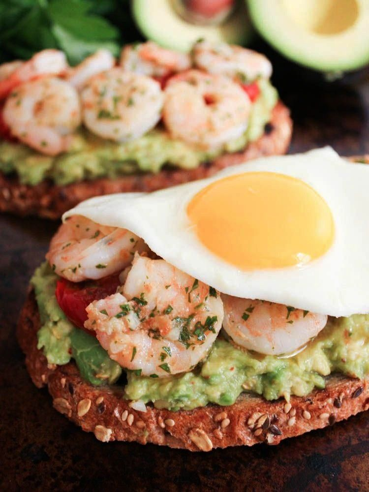 Toasts with Charred Tomatoes, Garlic Shrimp and Fried Eggs. A healthy anytime meal that's packed wi