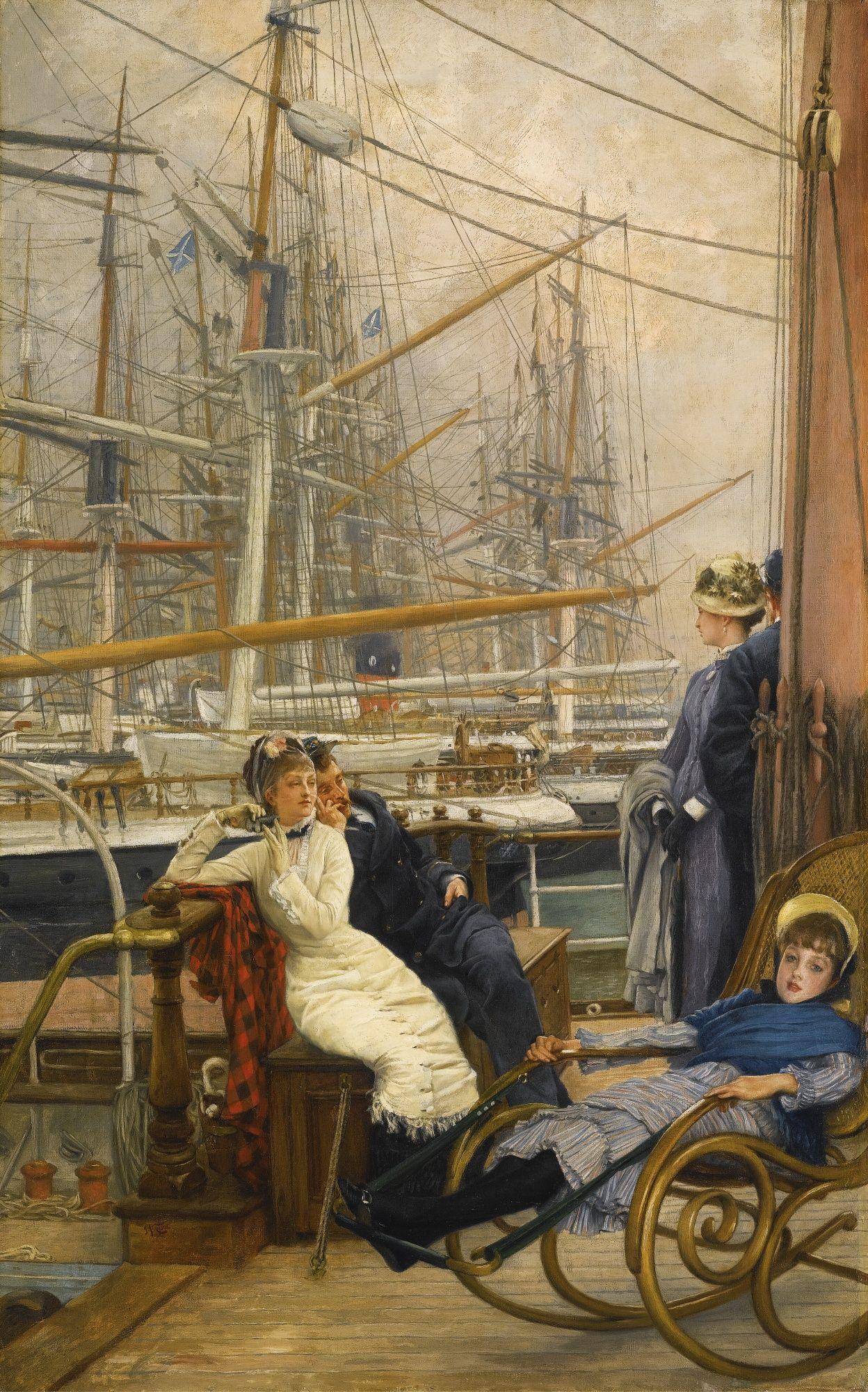 James Tissot 1836 - 1902 A VISIT TO THE YACHT (LA VISITE AU NAVIRE) signed l.l…