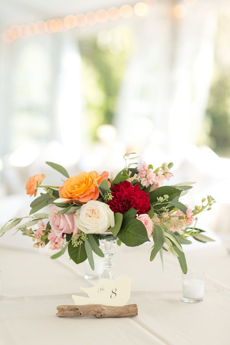 Blush, Raspberry, Orange Wedding | Fall Wedding | Centerpiece ...
