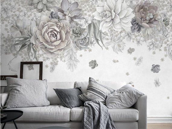 Succulent Art Wallpaper Dark Floral Wall Mural Colorful