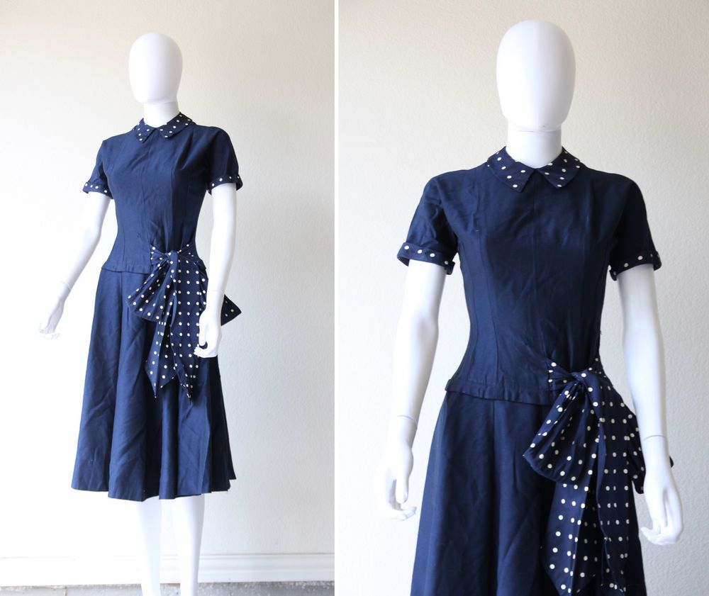 Vintage s s wwii hourglass wiggle day dress polka dot pinup