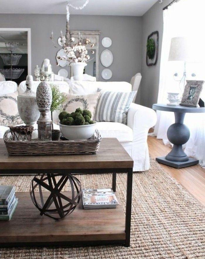 Salon gris et blanc style idee deco salon gris avec un camapé blanc rideaux