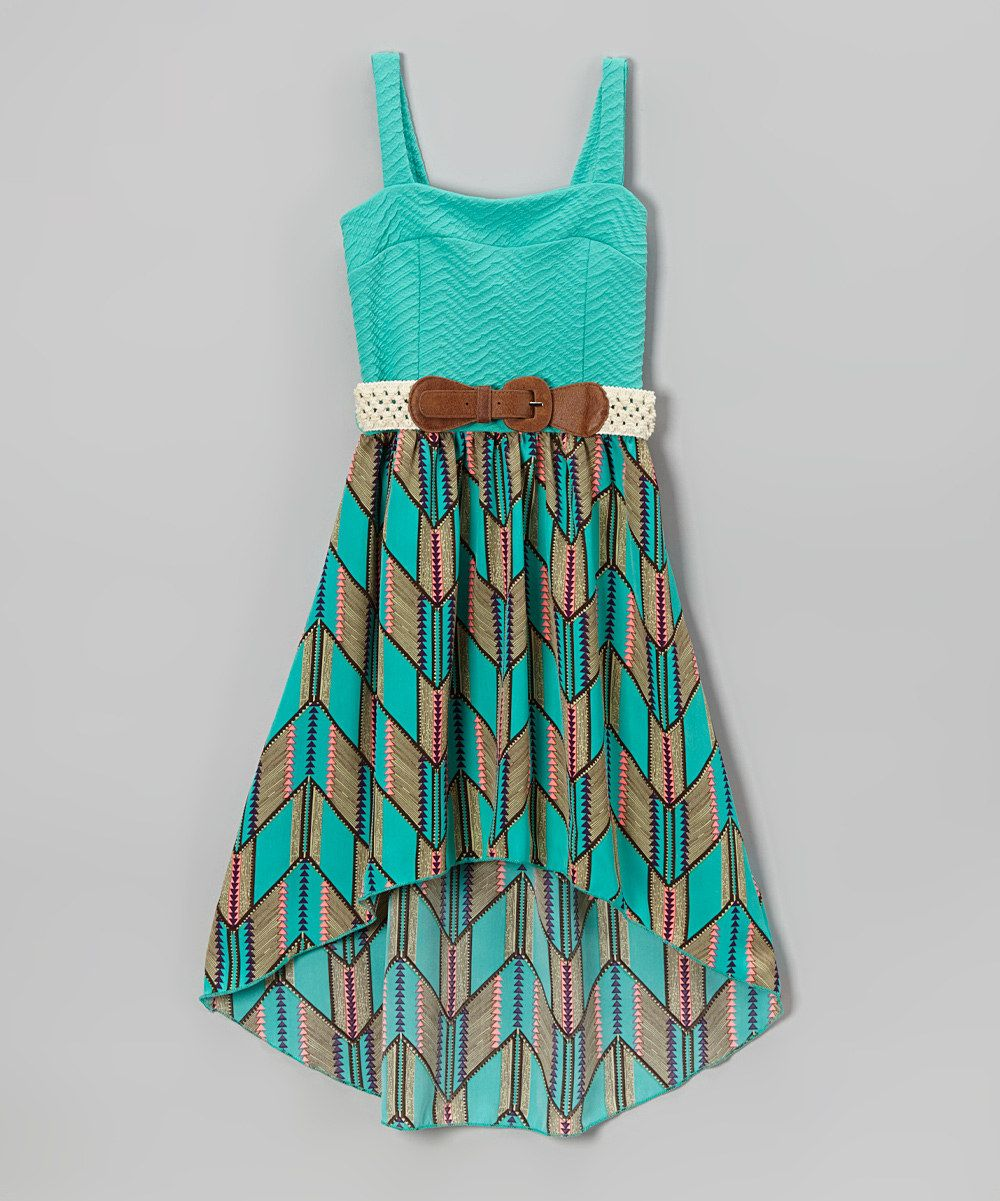 d8a4b504ab Another great find on  zulily! Mint Chevron Belted Hi-Low Dress - Toddler    Girls by Just Kids  zulilyfinds