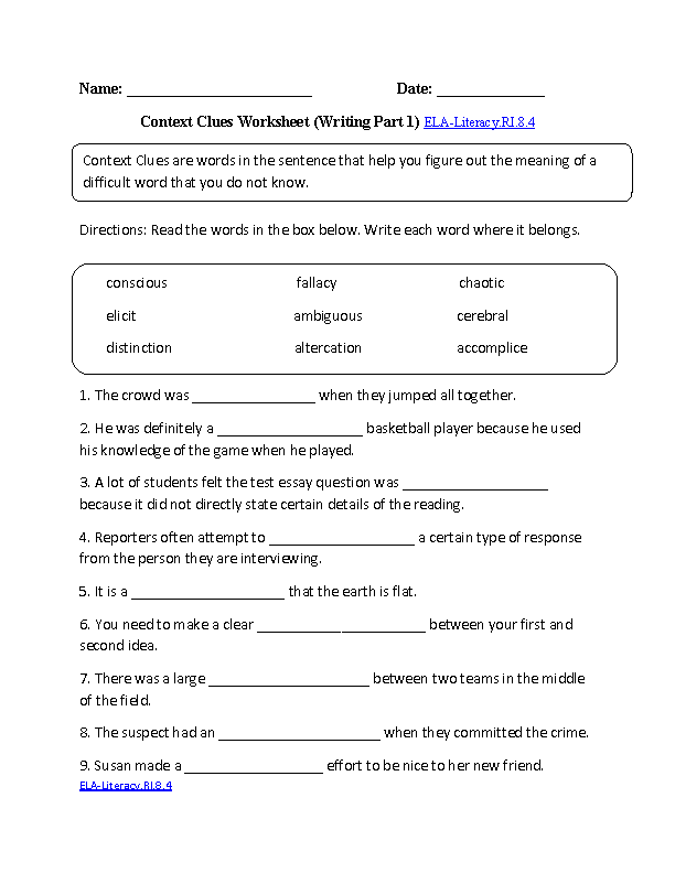 8th Grade Common Core Reading Informational Text Worksheets