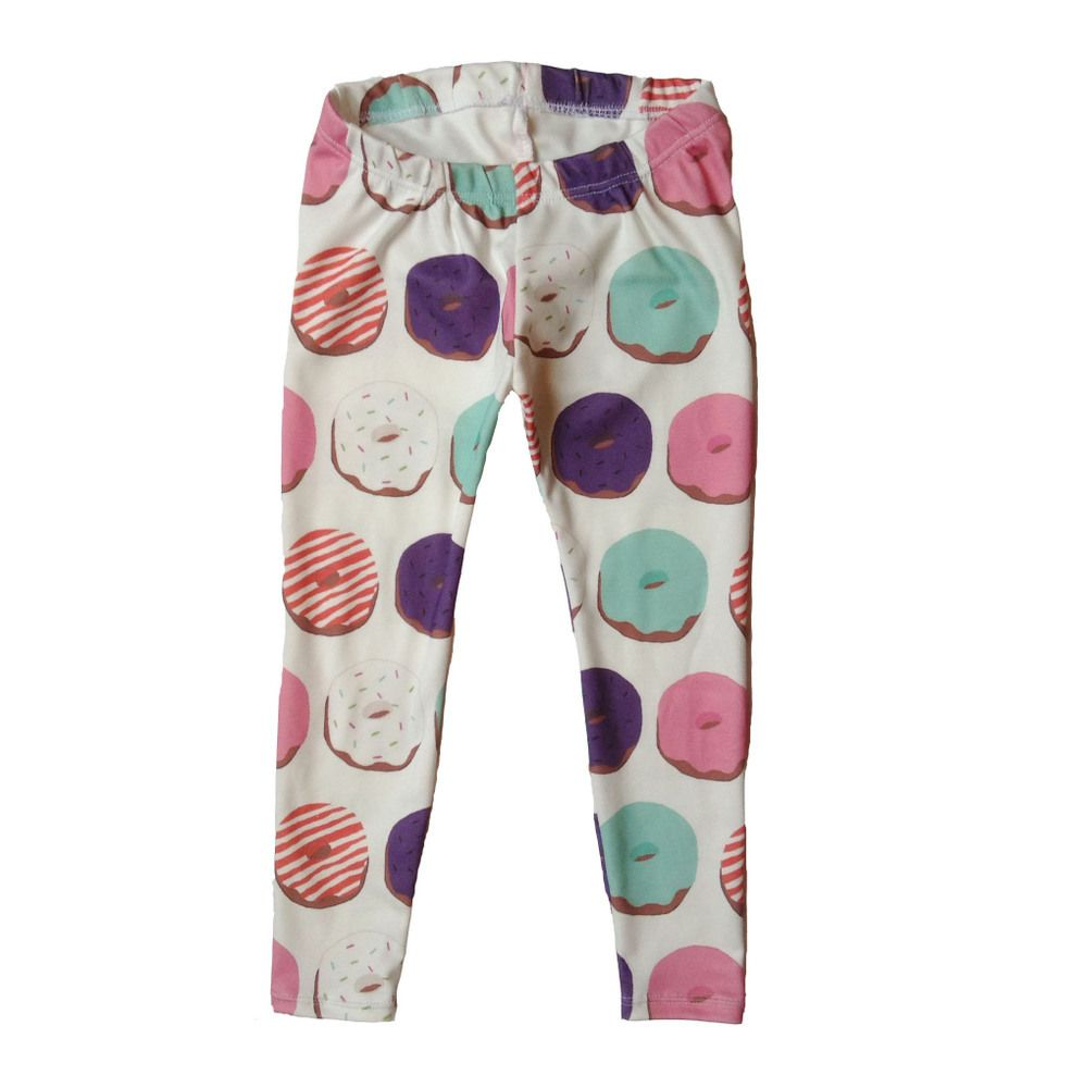 These hand made leggings are a great addition to any child's wardrobe, and are perfect for gifts!This is our donut design on leggings. All of these fabrics are my own hand drawn designs, printed with eco friendly water based inks on the softest 100% USA organic cotton jersey fabric--perfect to pair with your little ones delicate skin.All of the seams have been professionally serged for durability, and have a no-fold elastic waistband to stretch with your child as they grow....