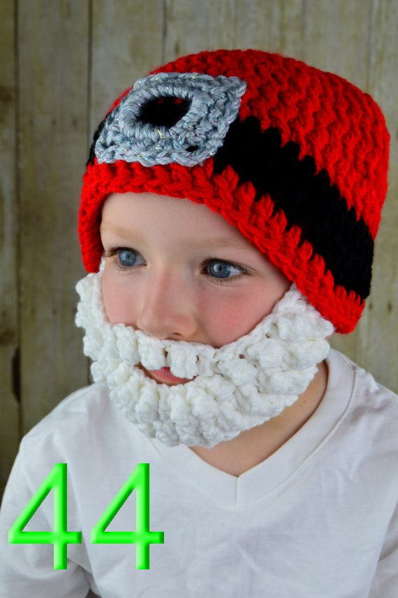 60pcs/lot Crochet Santa Hat with Beard, Christmas Hat, Holiday Hat ...