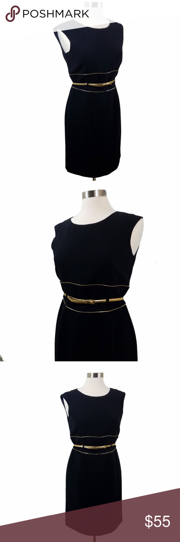 Tahari Black Gold Belted Sheath Cocktail Dress Petite Cocktail Dresses Fashion Clothes Design [ 1740 x 580 Pixel ]