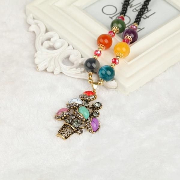 Ailisha Retro Long Sweater Necklace with Christmas Tree Turquoise Pendant Picture color #madeinchina #necklace >http://dxurl.com/R9DS