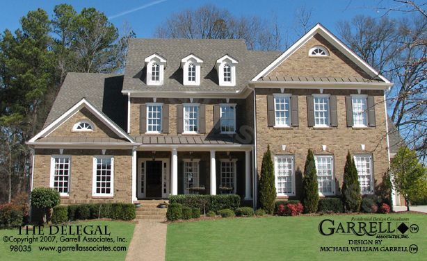 Delegal House Plan 98035, Front Elevation, Williamsburg Style ...