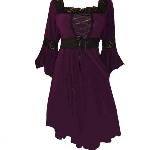 Medieval Dress Plus Size: Renaissance Plus Size Corset Dress In Wicked Plum