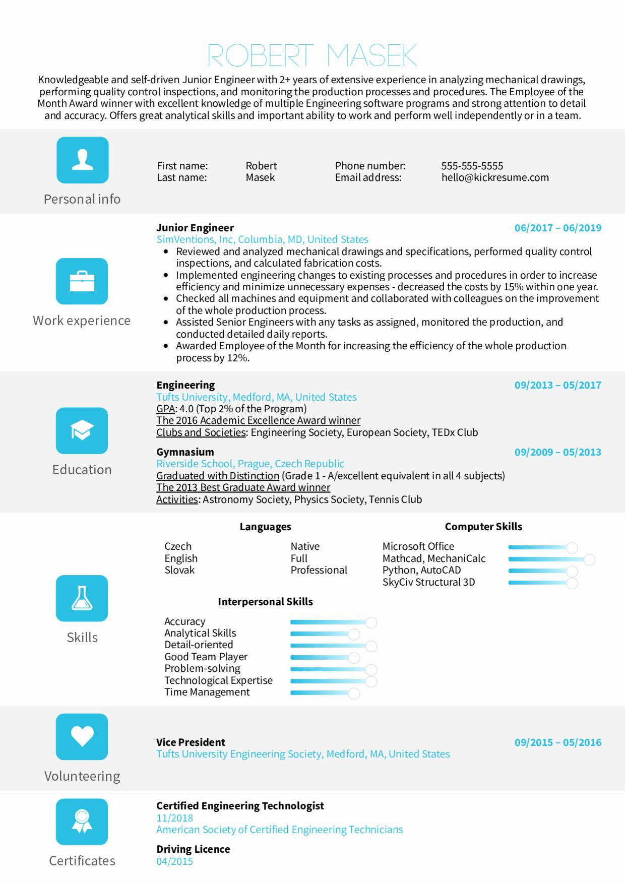 Junior Full Stack Developer Resume Example Unique Resume Examples By Real People Junior Engineer Resume Resume Examples Resume Template Event Planner Resume