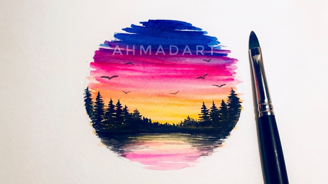 Sunset Forest Watercolor Tutorial For Beginners Youtube
